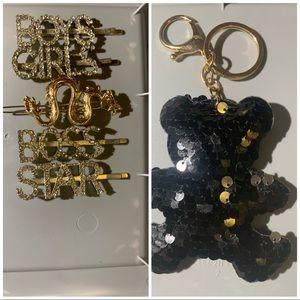 hair clips and a black bear keychain new